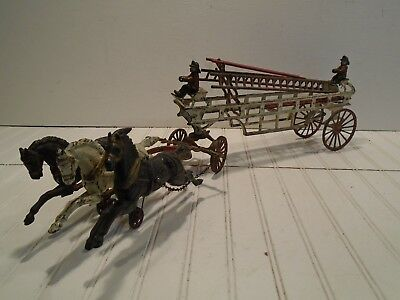 Hubley Horse Drawn Fire Truck - Vintage Ives Cast Iron Ladder Wagon Early 1900s for sale  Shipping to Canada