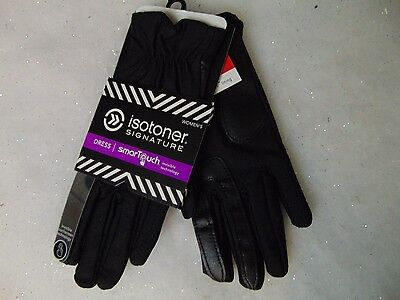 Isotoner SmarTouch Stretch Gloves Black Gathered Thermaflex Lined M/L #C169