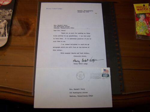 Henry Cabot Lodge Jr. signed letter dated January 24, 1972 w original envelope