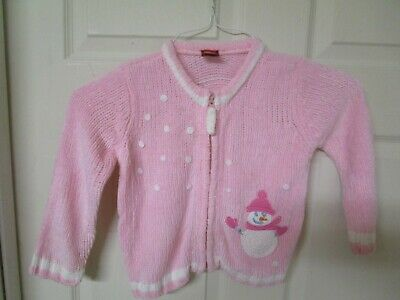 Girl's Christmas Zip Front Pink and White Snowman Sweater. Size 24 Months