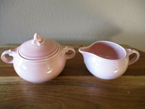 "Lu-Ray Pastels ""SHARON PINK"" Creamer and Sugar Bowl with Lid~T.S.& T."