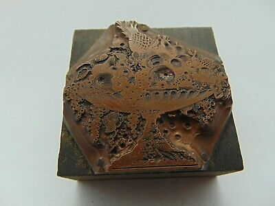 Vintage Printing Letterpress Printers Block Fruit Very Detailed