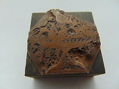 Vintage Printing Letterpress Printers Block Fruit Very Detailed