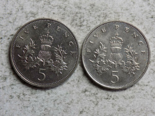 Great Britain 1984 & 87 5 Pence Coins (N-96)