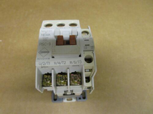 BENSHAW CONTACTOR RSC -9 SIZE 00 SZ 00 120V COIL 20A AMP 600Vac  RSC 9