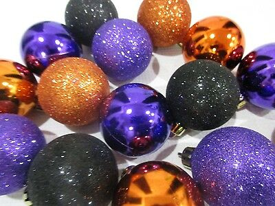 Halloween Decorations Ornaments ((15) Halloween Glitter Plastic Ball Ornaments 2.25