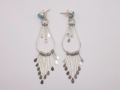Zuni Handmade Turquoise Earrings Set In Sterling Silver-Terry Aisetewa ()