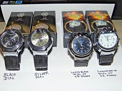 Wrist Watch With Built In Butane Lighter Black Silver Or White Dial USA Stocked