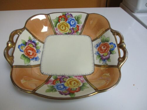 Vintage Hand Painted Bowl Gold and Peach Lustreware w/flowers, gold trim handles