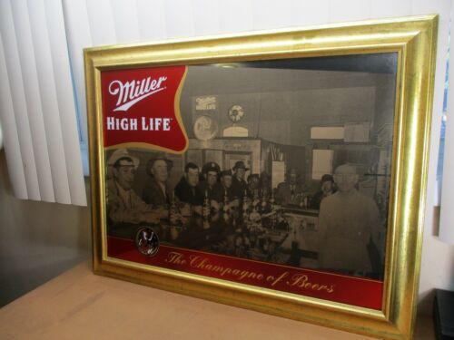 Vintage Miller High Life Girl in Moon Bar Scene Mirror Wooden Frame 1940