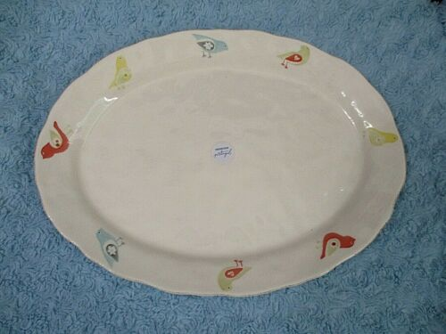 Portugal Matceramica Heavy Ceramic Oval Platter Tray with Birds NWT