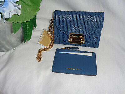 MICHAEL KORS WHITNEY SMALL CHAIN CONVERTIBLE ENVELOPE CARRYALL WALLET CHAMBRAY