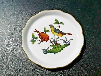 "Vintage 3"" HEREND Hungary Rothschild Birds Round Pin Tray Trinket Dish #7562 HTF"
