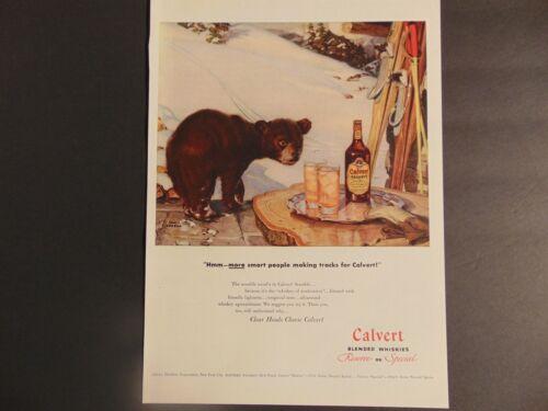 1947 CALVERT WHISKIES Baby Bear Winter Skies vintage art print ad