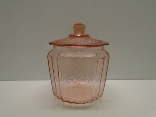 """PINK MAYFAIR """"OPEN ROSE"""" 7"""" TALL BISCUIT COOKIE JAR DEPRESSION GLASS 1931-37"""