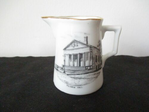 Circa 1910 Souvenir Porcelain Creamer Pilgrim Hall Plymouth Massachusetts