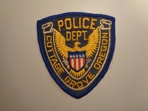 Vintage Cottage Grove Oregon Police Dept. Shoulder Patch Embroidered Cheesecloth