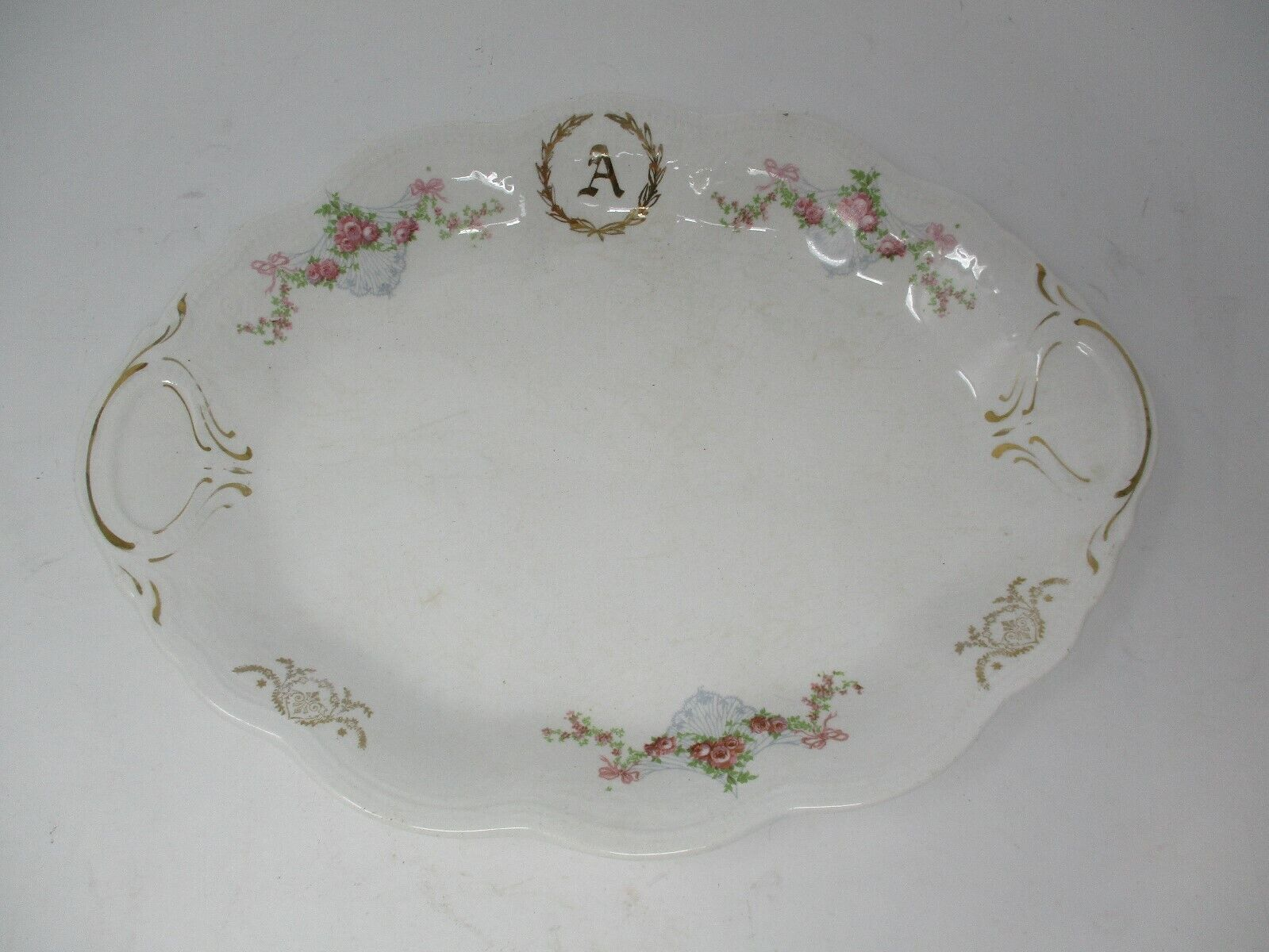 "CP Dixie Co Antique 12"" Oval Serving Platter With Monogram A"