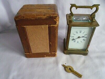 ANTIQUE FRENCH RICHARD & Co CARRIAGE CLOCK c1890 WITH CARRYING CASE + KEY GWO