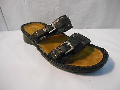 Naot Black Leather Karaoke Slide Sandals Removable Footbed Wmn's 5 US / 36 Euro ()