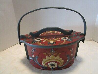 Vtg Norwegian Oval Tine Box Basket handmade Rosemaling Scandinavian Folk Art 13½