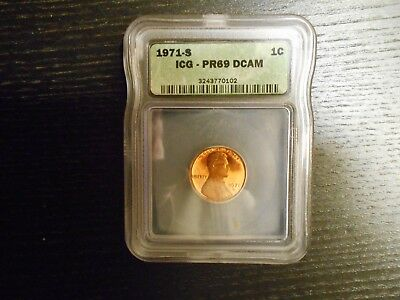 1971-S PR69 DCAM Lincoln Cent PROOF Penny - by ICG (Price Guide $8,500)