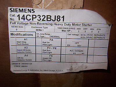 New Siemens 14cp32bj81 Size 0 24v Coil Non Reversing Motor Starter Enclosure 3ph