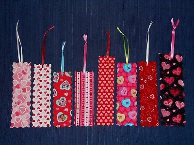 Bookmarks Handmade Fabric or Cloth HEART or VALENTINE Multi Color Size Lot of 8