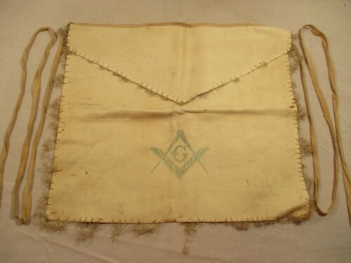 Antique c1875 Freemason Leather Uniform Masonic Apron Square and Compass Named
