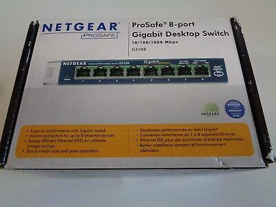 Netgear ProSafe GS108 8-port Gigabit Desktop Ethernet Switch 10/100/1000 Mbps