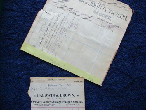 1895 Richmond,Virginia Fire Dept. (Supplies for the Firehouse) letterhead!