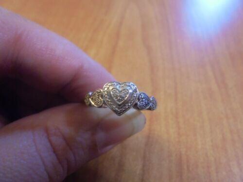 Vtg Sterling silver heart band ring size 7 3.0 grams
