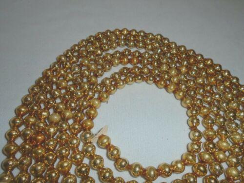 "Christmas Garland Mercury Glass, Antique Gold, 99"" Long 5/16"" Beads EB45 Vintage"
