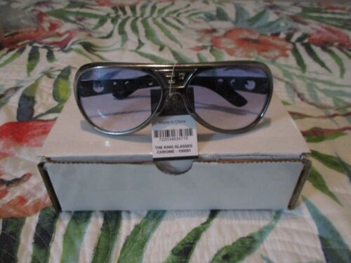 ELVIS PRESLEY CHROME FRAMED SUNGLASSES WITH BLUE TINT LENS METAL ARMS