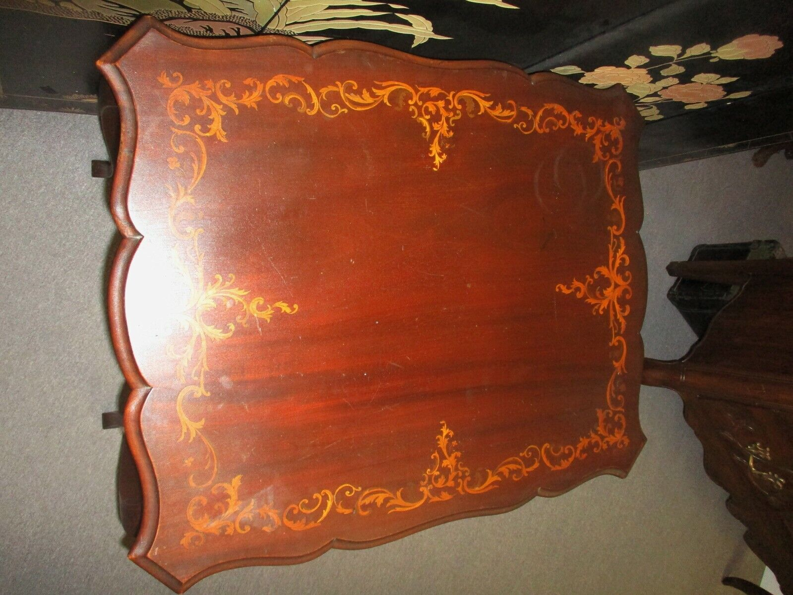 ANTIQUE VICTORIAN EDWARDIAN MARQUETRY MAHOGANY PARLOR TABLE - $295.00