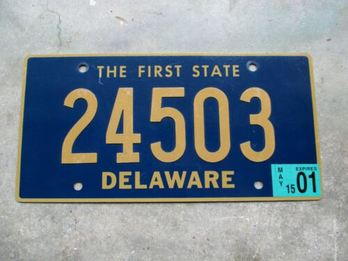Delaware 2001 Riveted Numbers  license plate  #  24503