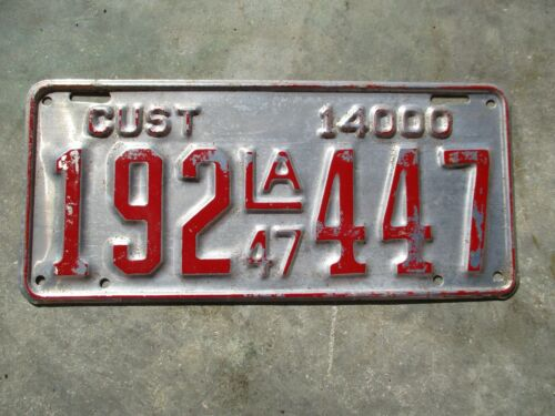 Louisiana 1949 CUST  license plate  #   192  447