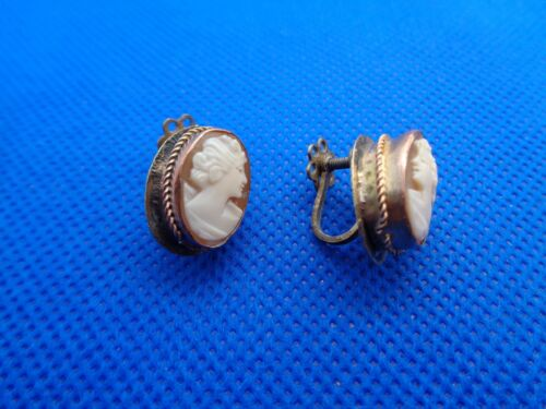 A PAIR OF VICTORIAN CARVED SHELL CAMEO SCREWBACK EARRINGS
