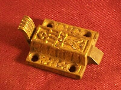 Ornate Victorian Eastlake Brass Cupboard Door Latch Cabinet Catch Hardware