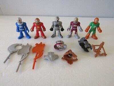 LOT OF 5 FISHER PRICE IMAGINEXT CASTLE KNIGHT ACTION FIGURES AND ACCESSORIES
