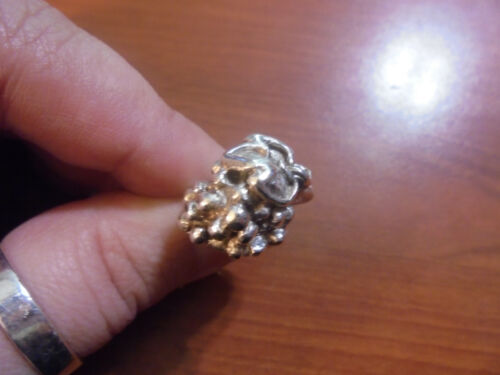 Vtg Sterling silver grape bunch with leaf band ring size 7 9.3 grams
