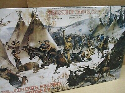 Custer's Reserve Bourbon Whiskey -UNUSUAL TIN SIGN - Horse Soldiers - US CALVERY