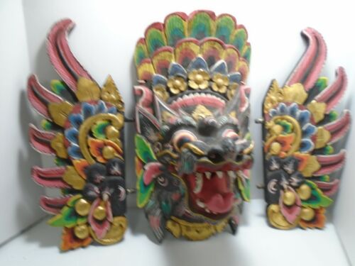 Balinese Mask Guardian Singa Lion Barong Topeng Demon Bali Wall Art carved wood