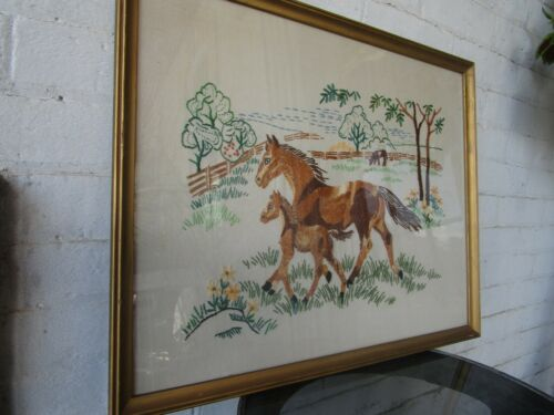 """Vintage Horse Colt Needlepoint Wall Art 21"""" x 17"""" framed in glass 1965 Nice!"""