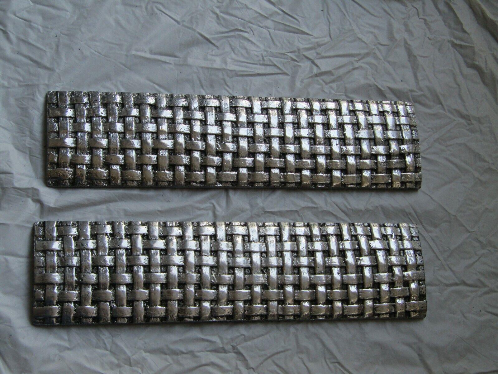 Pair of Basket Weave 12 inch trim Ceramic Tiles in Silver Gl