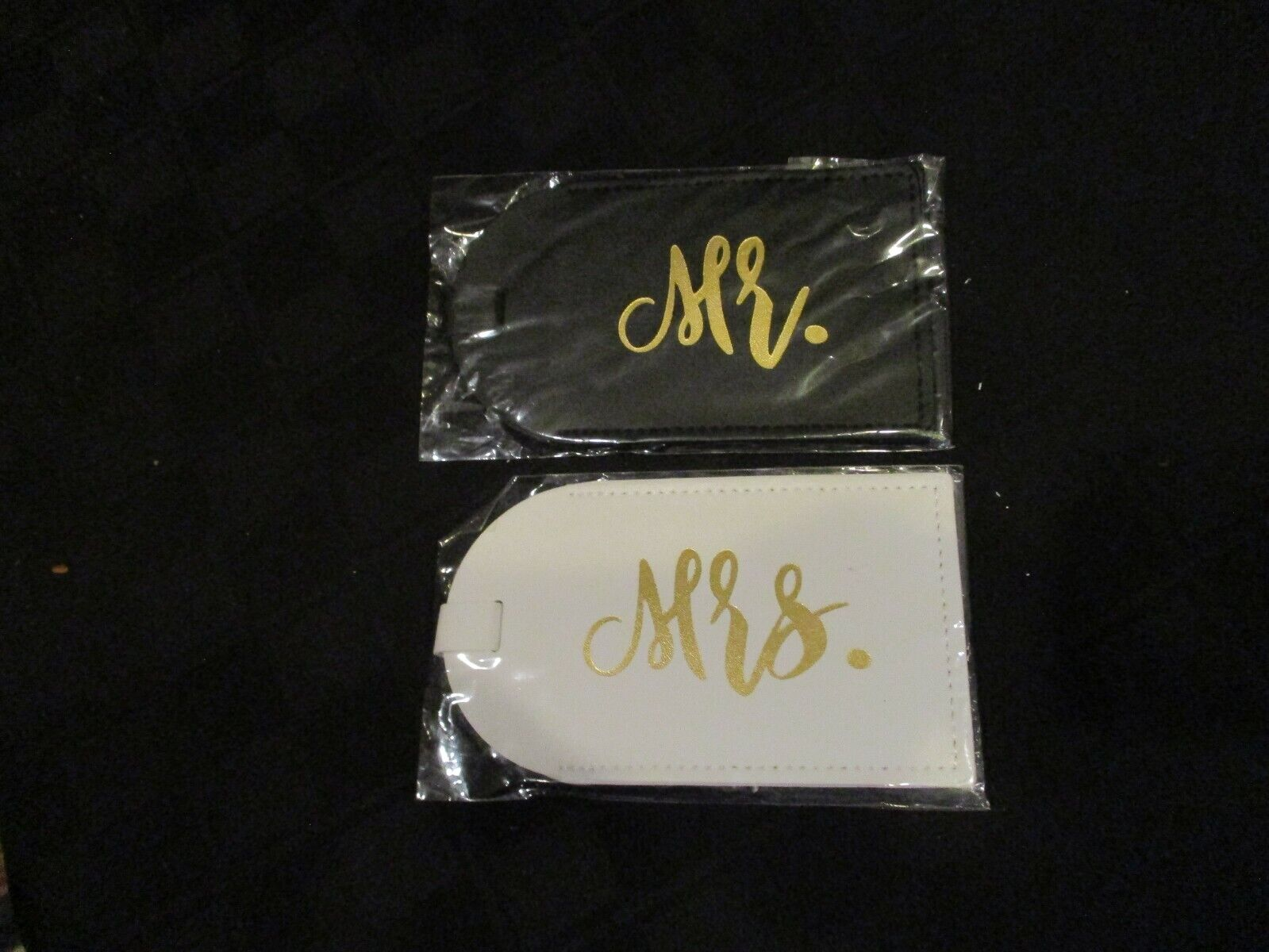 MR MRS Luggage Tags Leatherette Approx 5 X 2.75 Buckle Closure - $4.99