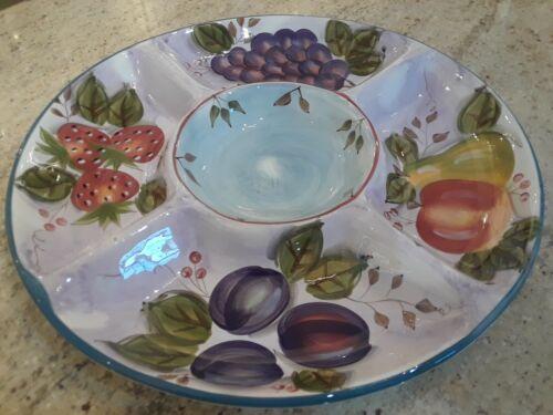 Heritage Mint Ltd. Ceramic Black Forest Fruits Divided Serving Tray