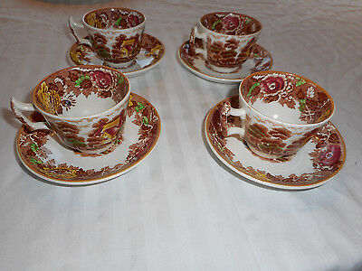 Enoch Woods English Scenery Brown & White Cup & Saucer Lot of 4