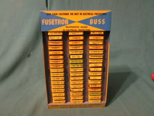 Vintage Buss and Fusetron Fuses 51 Boxes w/ Fuses In Metal Counter Wall Display