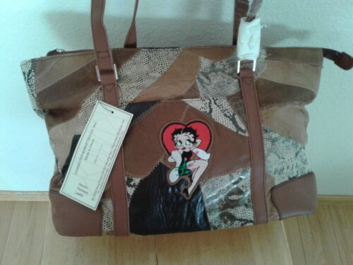 """Betty Boop Multi-color Faux Patch Leather Purse Hand Bag large,14"""" x 9"""" x 5"""""""